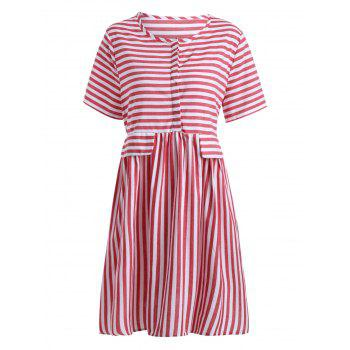 Plus Size High Waist Button Stripe Smock Dress - RED RED