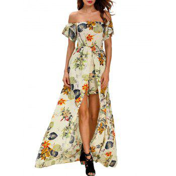 Off The Shoulder Floral Maxi Romper Dress
