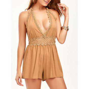 Lace Trim Halter Backless Linen Romper