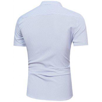Short Sleeve Vertical Stripe Shirt - LIGHT BLUE XL