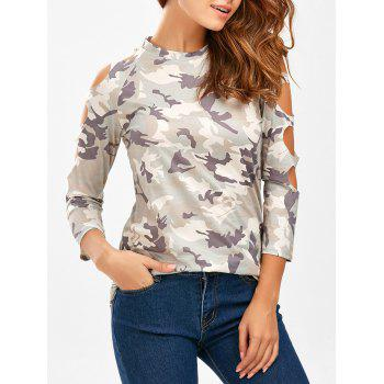 Camo Long Sleeve Cut Out Tee