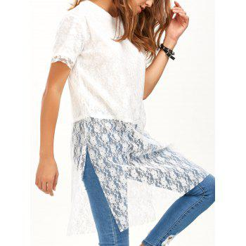 Lace Overlay Slit Long Blouse