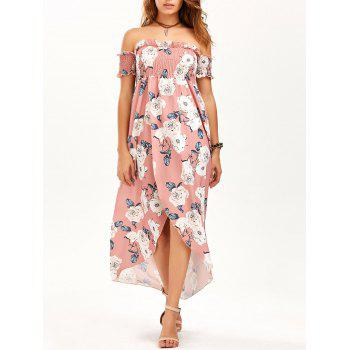 Off The Shoulder Floral High Slit Maxi Dress