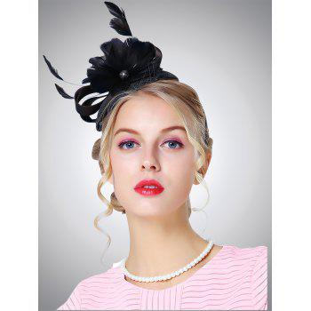 Feather Showy Flower Shpae Cambric Pillbox Hoop Hat