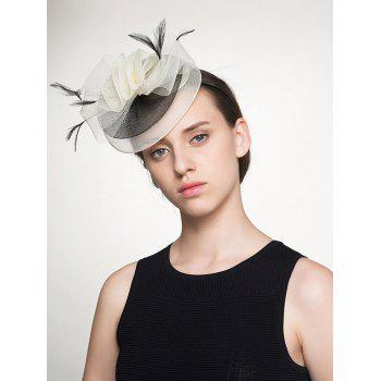 Feather Embellished Organza Flower Shape Cocktail Hat