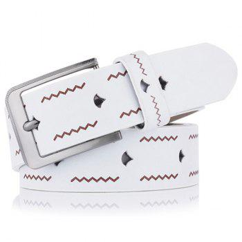 Pin Buckle Wavy Line Embossing Faux Leather Belt