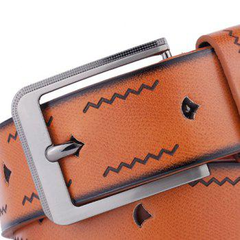 Pin Buckle Wavy Line Embossing Faux Leather Belt - BROWN
