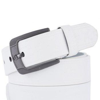 Pin Buckle Faux Leather Retro Embossing Belt - WHITE WHITE