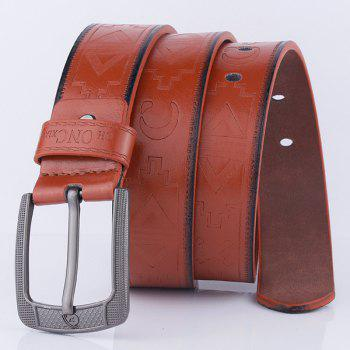 Pin Buckle Faux Leather Retro Embossing Belt - BROWN