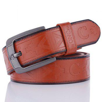 Pin Buckle Faux Leather Retro Embossing Belt - BROWN BROWN