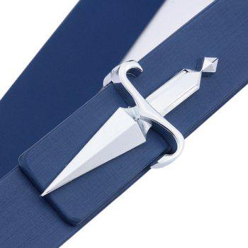 Tapered Crucifixion Artificial Leather Plate Buckle Belt - BLUE