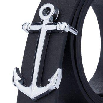 Faux Leather Plate Buckle Anchor Shape Belt -  BLACK