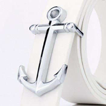 Faux Leather Plate Buckle Anchor Shape Belt - WHITE