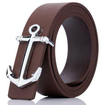 Faux Leather Plate Buckle Anchor Shape Belt - COFFEE COFFEE