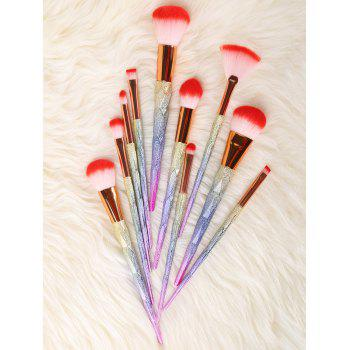 MAANGE 10Pcs Unicorn Conical Multicolor Makeup Brushes Set - COLORFUL