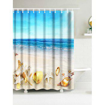 Sea Beach Shell Print Nautical Waterproof Shower Curtain