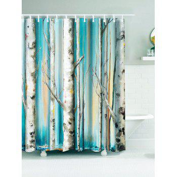 Winterly Forest Print Bathroom Waterproof Shower Curtain