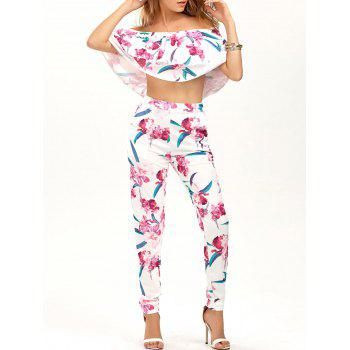 Floral Ruffled Blouse with Print Pants