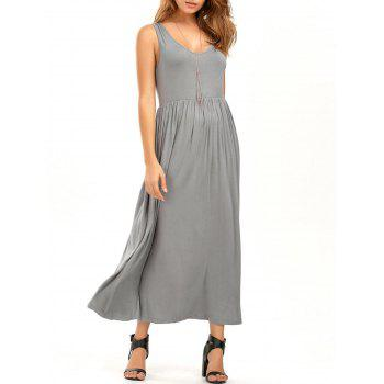 Elastic Waist V Neck Sleeveless Maxi Dress