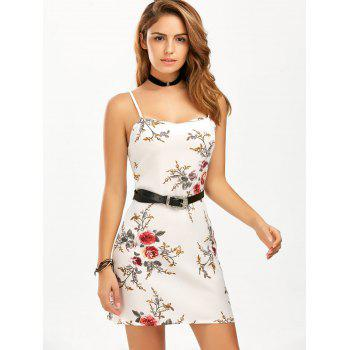 Spaghetti Strap Floral Printed Chiffon Dress - WHITE XL