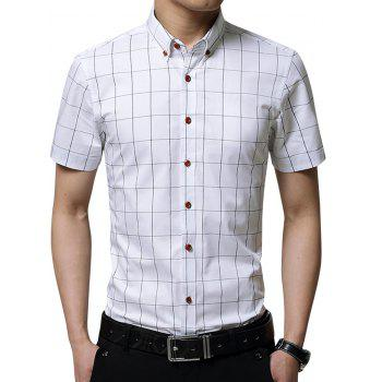 Button Down Short Sleeves Grid Shirt