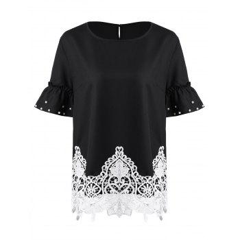 Plus Size Lace Trim Beaded Flare Sleeve Chiffon Top