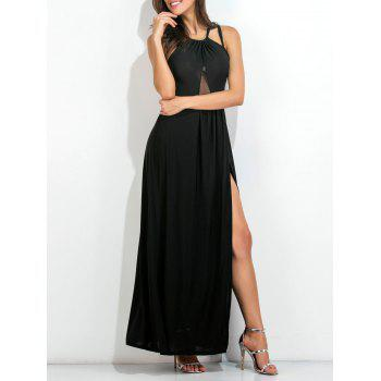Strappy Open Back High Slit Flowing Dress