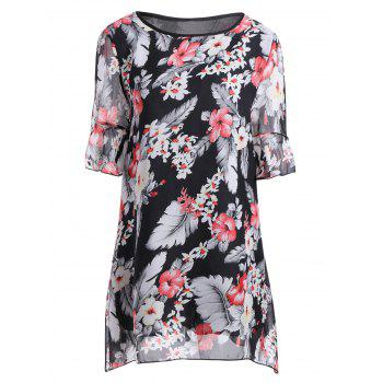Floral Asymmetrical Plus Size Butterfly Sleeve Blouse