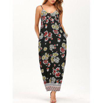 Printed Slip Maxi Dress with Pockets