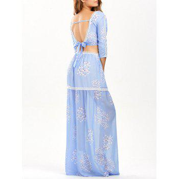 Hollow Out Printed Two Piece Dress