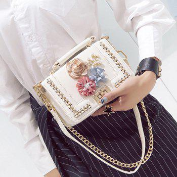 Flowers Bead Chain Crossbody Bag