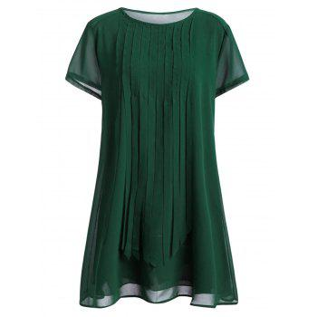 Plus Size Fringed Mini Dress - GREEN 3XL