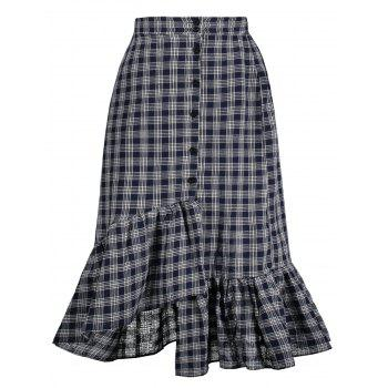High Waist Checked Midi Fishtail Skirt
