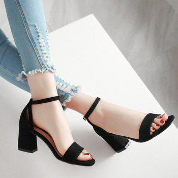 Suede Mid Heel Ankle Strap Sandals