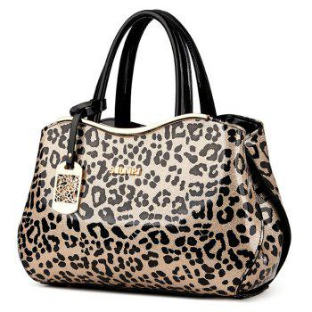Metal Bar Leopard Print Handbag -  BLACK