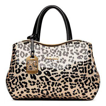 Metal Bar Leopard Print Handbag - BLACK BLACK