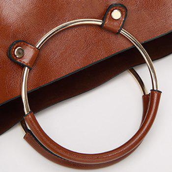 PU Leather Metal Ring Tote Bag -  BROWN