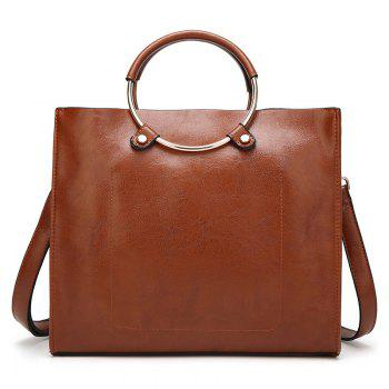 PU Leather Metal Ring Tote Bag - BROWN BROWN