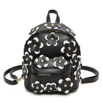 Faux Leather Flowers Mini Backpack