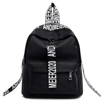 Letter Print Straps Nylon Backpack