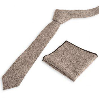 Blending Linen Grain Handkerchief and Neck Tie - GREY AND WHITE GREY/WHITE