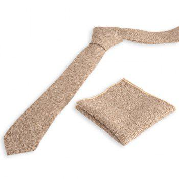 Blending Linen Grain Handkerchief and Neck Tie - KHAKI KHAKI