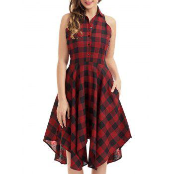 Button Checked Sleeveless Handkerchief Shirt Dress