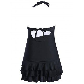 Skirted Halter Tiered Ruffles Swimsuit - BLACK BLACK