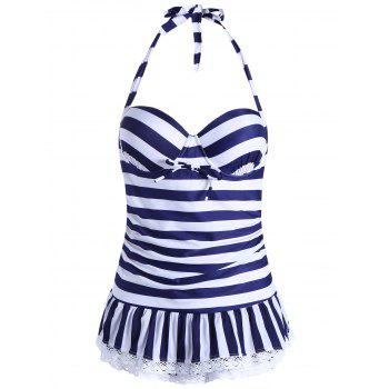 One Piece Halter Striped Skirted Swimwear - BLUE M