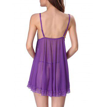 Lace Panel Mesh Sheer Slip Lingerie Dress - L L