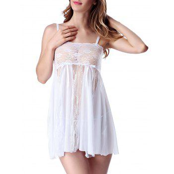 Lace Panel See Thru Cami Lingerie Dress - WHITE WHITE
