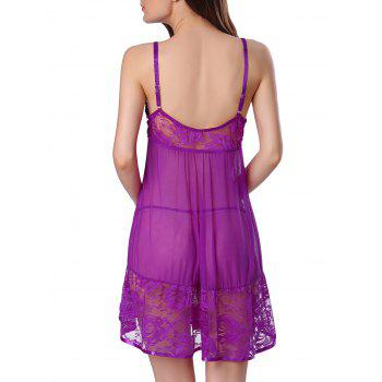 Lace Insert Slip Lingerie Sheer Sleep Dress - PURPLE PURPLE