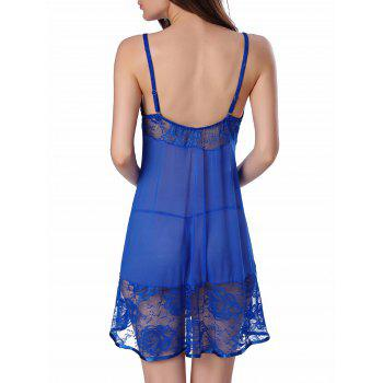 Lace Insert Slip Lingerie Sheer Sleep Dress - XL XL
