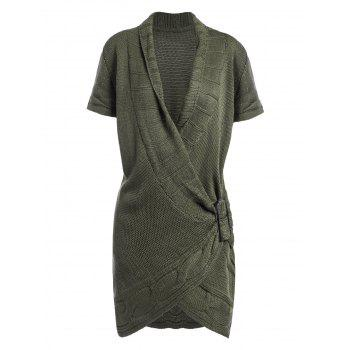 Shawl Collar Cable Knit Surplice Sweater Dress - ARMY GREEN S